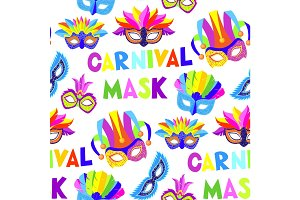 Authentic handmade venetian painted carnival face masks party decoration masquerade vector seamless pattern