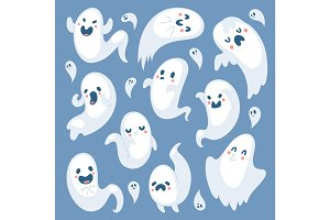 Cartoon spooky ghost Halloween Day celebrate character scary monster costume evil silhouette creepy vector illustration.