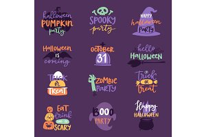 Halloween Day celebration invitation logo text badge phrases vector illustration set design