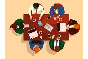 People at table, business team meeting