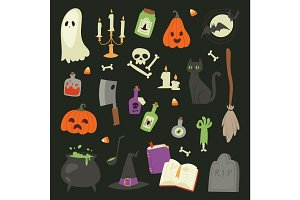 Halloween carnival symbols icons vector set collection illustration with pumpkin and ghost