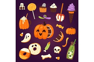 Halloween cookie symbols of food Night cake party vector illustration