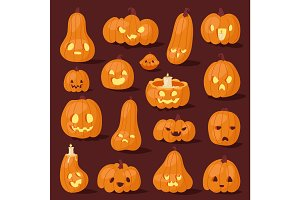 Halloween pumpkin creepy face head vector illustration set