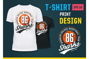 Sportswear t-shirt with print for basketball team