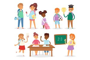 Back to school kids boys and girls children school-time vector illustration.