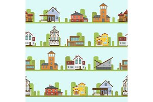 Different city town buildings street view architecture seamless pattern house home facade vector illustration