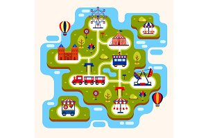 Map of amusement park with attractions