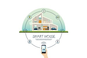 Smart home infographics with smartphone