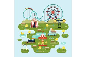 Circus with attractions or amusement park map