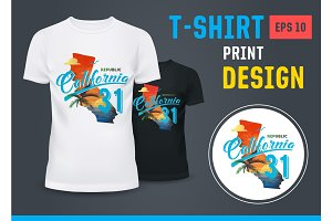T-shirt with palm at beach in California