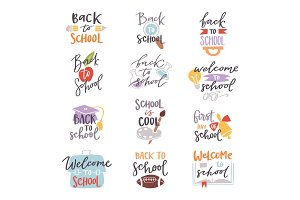 Back to school logo badge lettering design text vector set illustration
