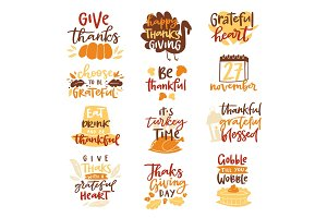 Thanksgiving decoration lettering invintation logo badge design harvest november celebrate background vector illustration