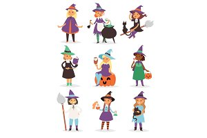 Cute little Halloween Witch girl harridan broom cartoon magic young character costume hat vector illustration.