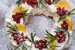 Christmas wreath made of meringue