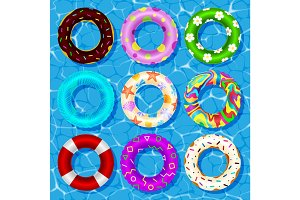 Top view vector collection of rubber rings floating on swimming pool water lifebuoy security, equipment.