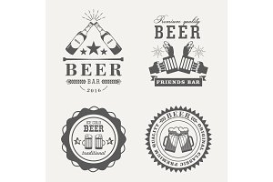 Retro or old beer badges or signs