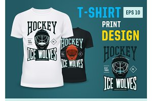 Hockey team print on t-shirt for winter sport