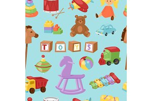 Set of different cartoon vector kids toys background playfull children stuff seamless pattern