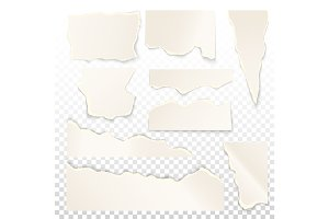 Set of isolated white ripped paper