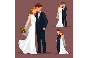 Set of isolated married couple, wedding