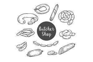 Sketch for butcher shop with wurst and sausage