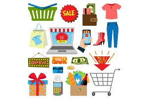 Supermarket web shopping cartoon set food and commerce products shop icons isolated on white vector illustration.
