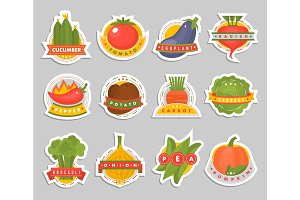Vector vegetables label logo badge design template icons isolated for product branding