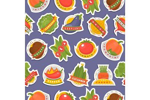 Vector vegetables label logo badge design template icons isolated for product branding seamless pattern