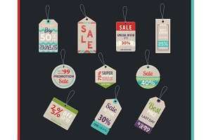 Tag sales or shop, store labels with prices