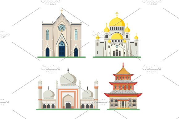 Orthodox And Catholic Church Pagoda And Mosque