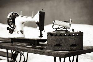 Vintage sewing machine sepia backdrop