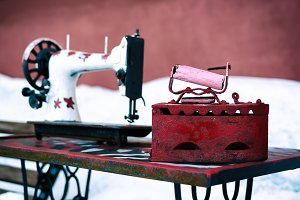 Vintage sewing machine backdrop