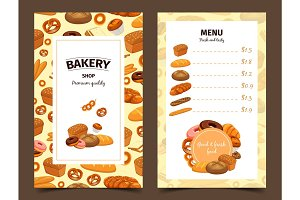 Banner with baker and menu with pastry