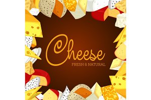Sign or banner with sliced porous cheese