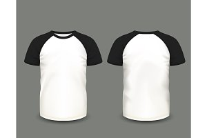 Shirts black raglan. Vector template.