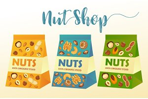 Paper packs with nuts or product packages