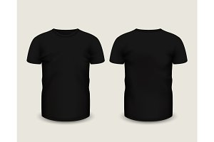 Black shirts short sleeve. Vector template.