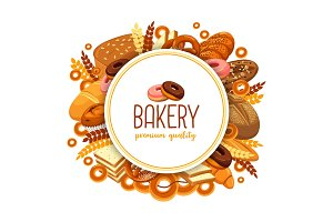 Pastry and bakery food for bakehouse badge