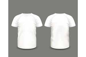 Shirts white raglan t-shirt. Vector template.
