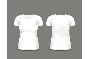 White raglan t-shirt. Vector template.