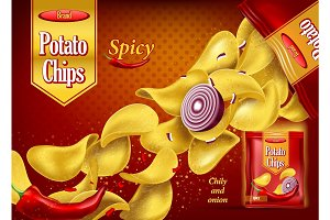 Spicy potato chips on package with onion, pepper