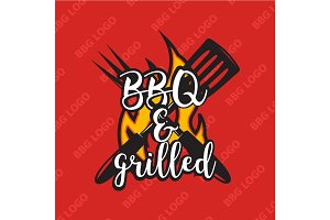 Creative bbq logo design with flame. Vector illustration.