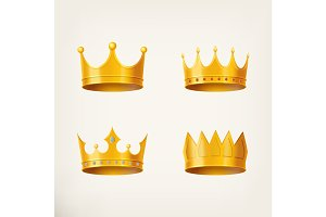 3D golden crown for queen or monarch, king