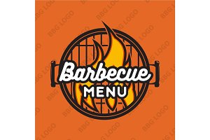 Creative logo design with bbq grill and flame. Vector illustration.