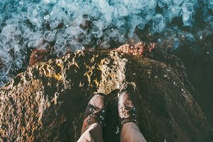 Feet above sea full of Jellyfish