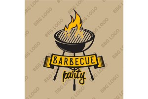 Retro logo design with bbq grilled and flame. Vector illustration.