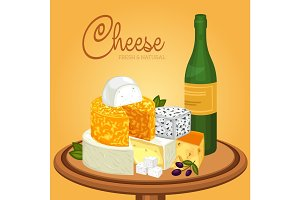 Sliced cheese pieces on plate and bottle of wine