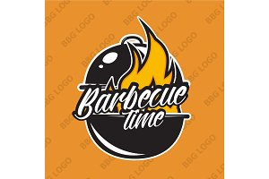 Retro barbecue logo design with fire. Vector illustration.