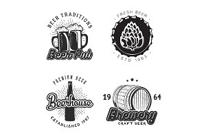 Creative beer set of logos design. Vector illustration.