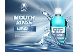 3d mouthwash bottle or realistic 3d container